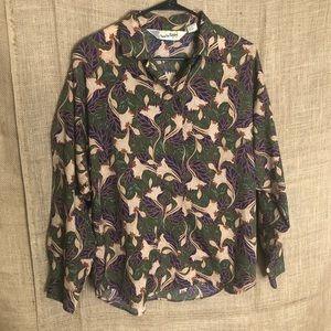 Diane Von Furstenberg Top M Vintage Shirt Print